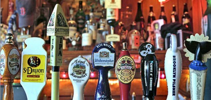 Tap handles at the Publick House - courtesy of Boston.com