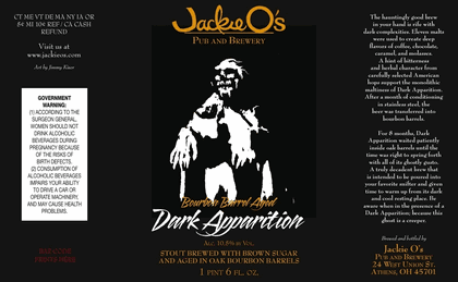 Image result for jackie o's dark apparition bourbon stout label