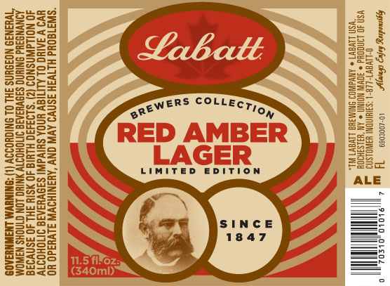 Labatt Red Amber Lager Label | BeerPulse