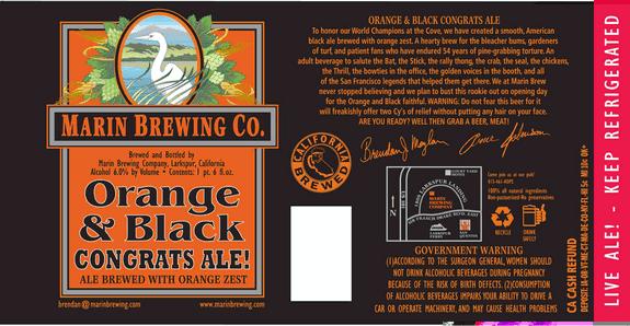 Marin Orange and Black Congrats Ale label