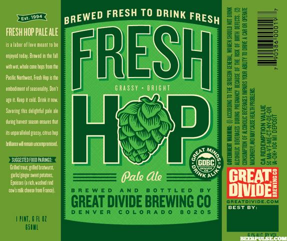 Great Divide Fresh Hop Pale Ale label