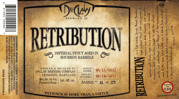 duclaw retribution bourbon barrel aged imperial stout