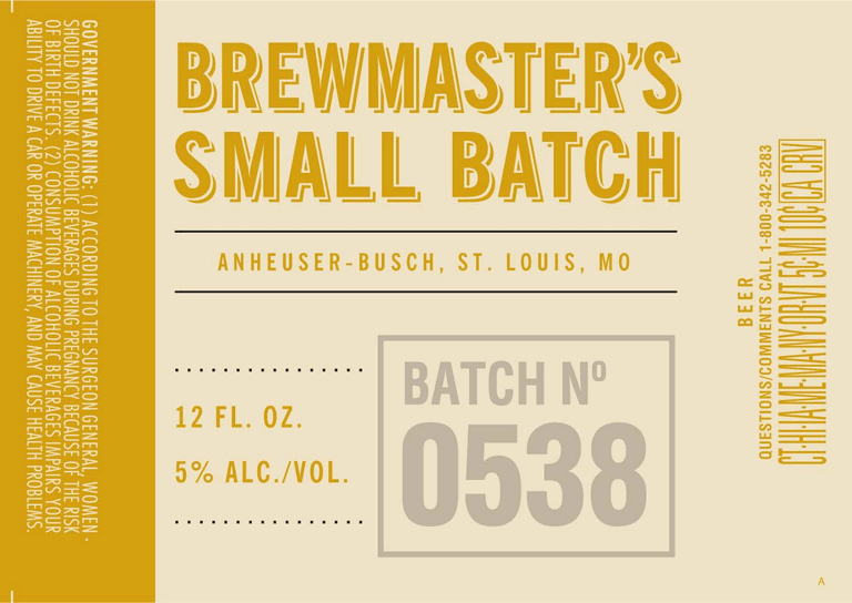 Anheuser-Busch Brewmaster's Small Batch No. 0538
