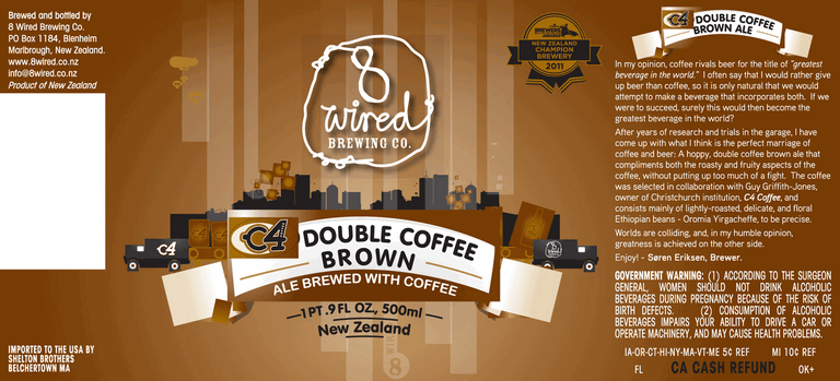 8 Wired C4 Double Coffee Brown Ale | BeerPulse