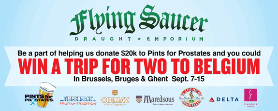 Win Trip for 2 to Belgium Flying Saucer and Pints for Prostates