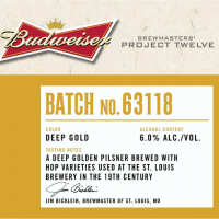 Budweiser Batch No. 63118 Golden Pilsner