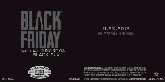 Lakefront Black Friday Imperial India Black Ale