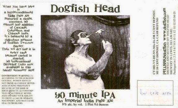 dogfish head 90 minute ipa original label