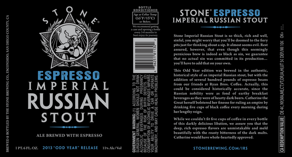 Stone IRS Espresso label