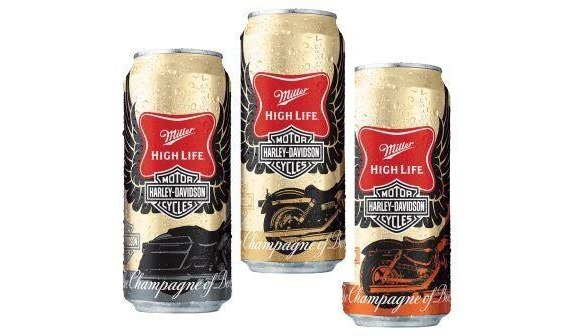 miller high life harley davidson cans