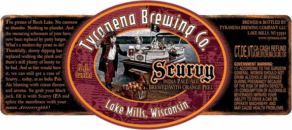 Tyranena Scurvy IPA label