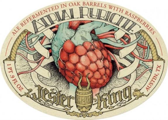 Jester King Atrial Rubicite Barrel Aged Ale label lite