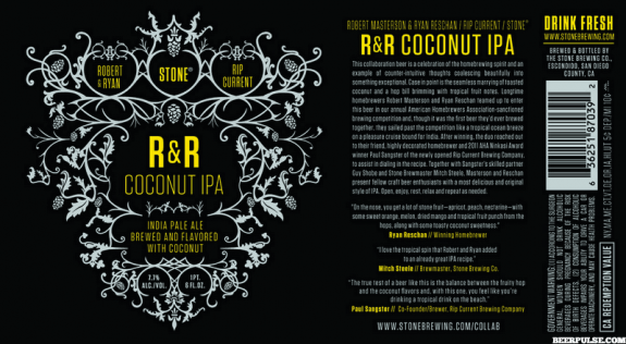Stone R&R Coconut IPA label new