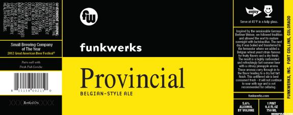 funkwerks provincial belgian ale