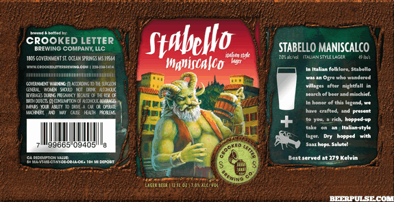 crooked letter brewery crooked letter stabello maniscalco italian lager beerpulse 21248