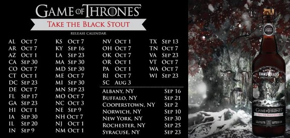 Ommegang Gang of Thrones Take the Black Stout schedule states