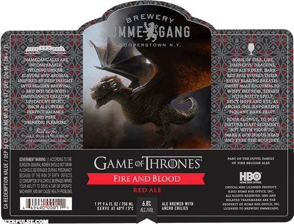 Ommegang Fire and Blood label