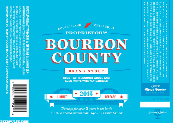 Goose Island Proprietor's Bourbon County Brand Stout label