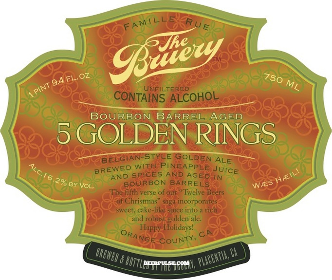 The bruery bourbon barrel aged 5 golden rings belgian golden ale