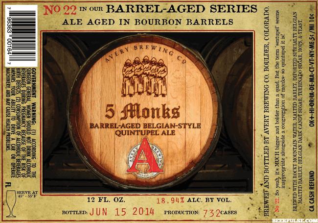 Avery 5 Monks Bourbon Barrel-Aged Belgian Quintupel