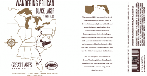 Great Lakes Wandering Pelican label