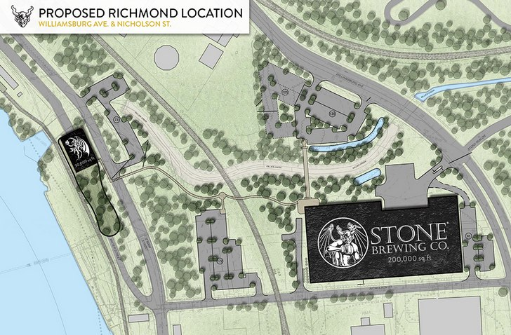 Stone Brewing Co. Richmond map