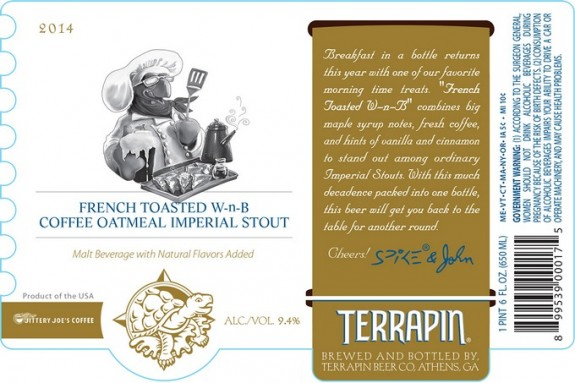 Terrapin French Toasted W-n-B Coffee Oatmeal Imperial Stout label BeerPulse