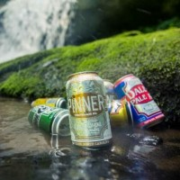 Oskar Blues Brewery cans waterfall