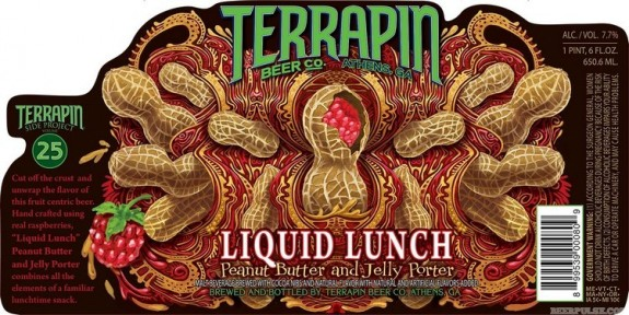 Terrapin Liquid Lunch Peanut Butter and Jelly Porter label BeerPulse