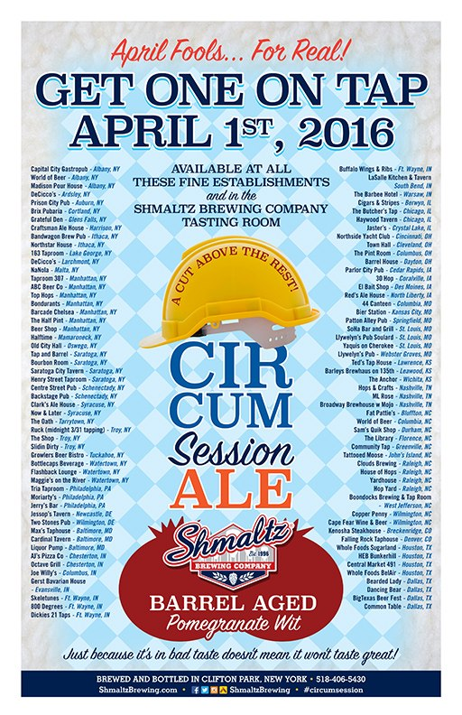 Shmaltz Circumsession Ale tapping locations beerpulse
