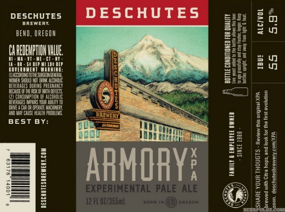Deschutes Armory XPA label BeerPulse