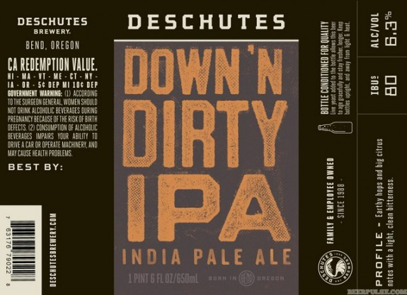 Deschutes Down 'n Dirty IPA label BeerPulse