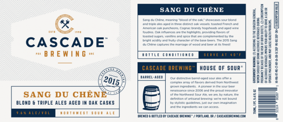 Cascade Sang Du Chene label BeerPulse