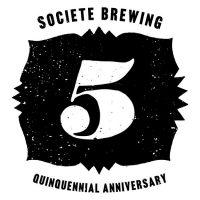 societe brewing 5th anniversary logo