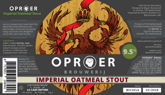 Oproer Imperial Oatmeal Stout label BeerPulse