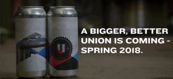 UNION Craft Brewing to relocate and expand its brewery and taproom in 2018
