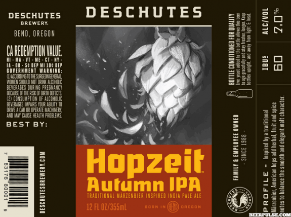 Deschutes Hopzeit Autumn IPA label BeerPulse